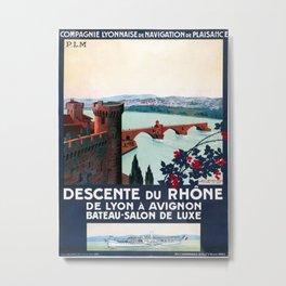 Descente du Rhône, French Travel Poster Metal Print