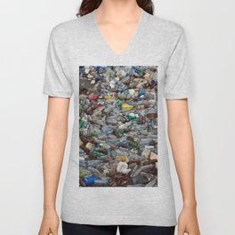 pollution by plastic bottles Unisex V-Neck