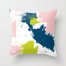 E5: a bright minimal abstract in pink, green, blue, and white Throw Pillow