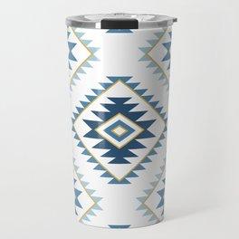 Aztec Style Motif Pattern Blues White Gold Travel Mug