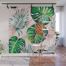 Pineapple plants and triangles Wall Mural