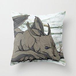 Grey Dragon Throw Pillow