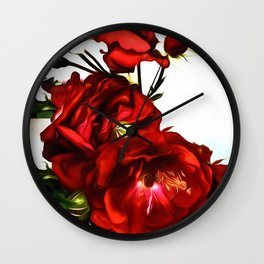 The Red Love Rose Wall Clock