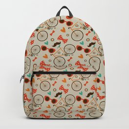 Colorful Hipster Elements Pattern on beige Backpack