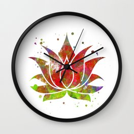 Colorful Lotus Flower Wall Clock