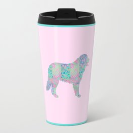 Bernese Mountain Dog Vintage Floral Pattern Pink Blue Turquoise Shabby Chic Travel Mug