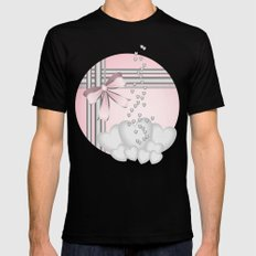 Silver hearts on pastel pink with pretty matching bow MEDIUM Mens Fitted Tee Black