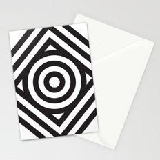Stripes Circle Square Black & White Stationery Cards