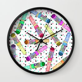 Retro 80's 90's Neon Colorful Push Candy Pop Wall Clock