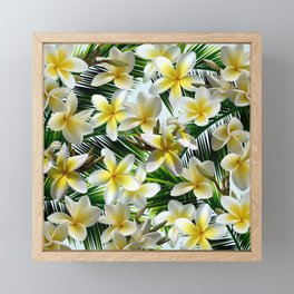 Plumeria on Palm Leaves Framed Mini Art Print