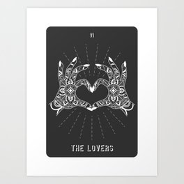 Minimal Tarot Deck The Lovers Art Print