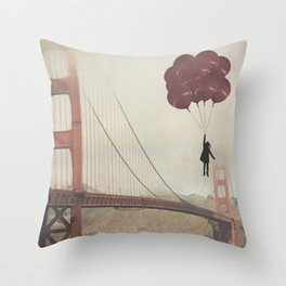Floating over the Golden Gate Throw Pillow