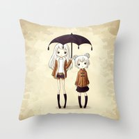 sisters Throw Pillows featuring Sisters by Freeminds