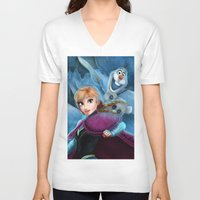 olaf V-neck T-shirts featuring Anna & Olaf  by This Is Niniel Illustrator
