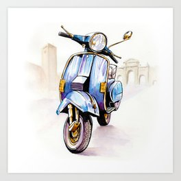 Azzurro Vespa (Motocicletalia) Art Print