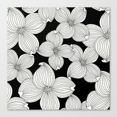 Dogwood Floral Linear: Ivory on Black  Canvas Print