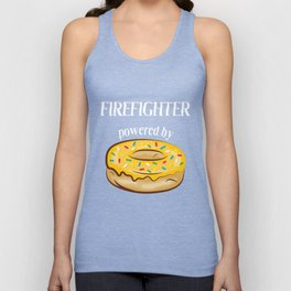 Firefighter T-Shirt Firefighter Powered By Donuts Gift Apparel Unisex Tank Top