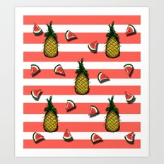 Pines and watermelons Art Print