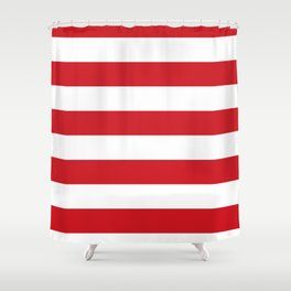 Horizontal Stripes - White and Fire Engine Red Shower Curtain