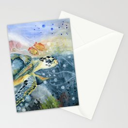 Colorful Seaturtle Art Stationery Cards