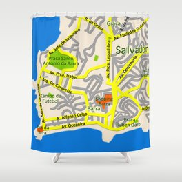 Salvador, Brasil Map Design Shower Curtain