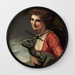 Lady Hamilton with velociraptor  Wall Clock