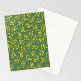Leaves pattern - Green yellow Stationery Cards