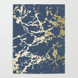 Kintsugi Ceramic Gold on Indigo Blue Poster