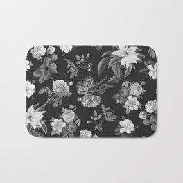 Vintage flowers on black Bath Mat
