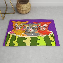 Cats in Watermelon Jacuzzi - Tropical Rug