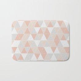 Peach & Gray Geometric Art Bath Mat