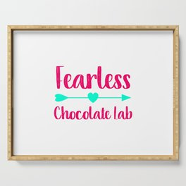 Fearless Chocolate Lab Fun Dog Serving Tray