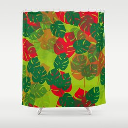 monstera green red Shower Curtain