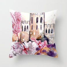 Castle and Coral Throw Pillow