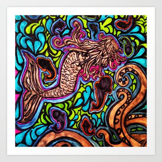 Abstract Mermaid Art Print