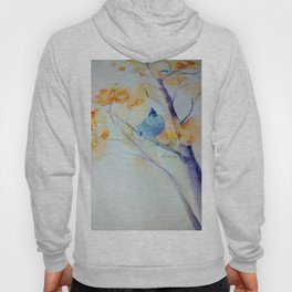 Nuthatch Aspen Morning Looking Up watercolour by CheyAnne Sexton Hoody
