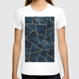 Dark Midnight Navy Blue Gold Geometric Glam #1 #geo #decor #art T-shirt