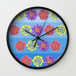 Stacks of Flowers Wall Clock