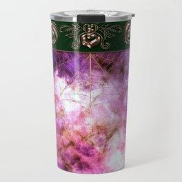 Gold floral frame on purple stone Travel Mug