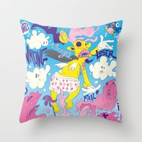fear Throw Pillows featuring Fear by Matteo Cuccato - Strudelbrain