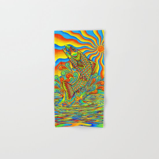 Psychedelic Rainbow Trout Hand & Bath Towel