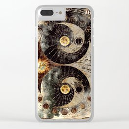 Lunar Phases Celestial Map in Black and Gold Clear iPhone Case