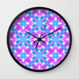 Hand drawn seamless pattern with folk national motives. Bright colored abstract wallpaper. Seamless Wall Clock