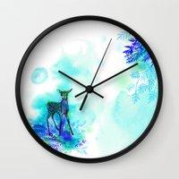bambi Wall Clocks featuring bambi by anneamanda