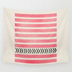 PINK STRIPES AND ARROWS Wall Tapestry
