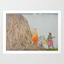 King Muchukunda Enters the Realm of Mount Gandhamadana 18th Century Classical Hindu Art Art Print