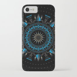 Buffalo Skull and Feathers (Blue) iPhone Case