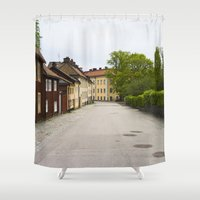 sweden Shower Curtains featuring Stockholm, Sweden Old Streets by Jeremiah Wilson