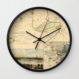 Map of Boston 1880 Wall Clock