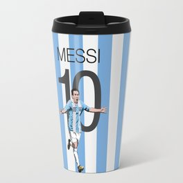 Lionel Messi Argentina 10 Print Travel Mug